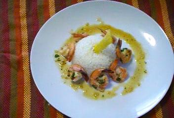 Arroz Blanco estilo Francés con Camarones en salsa de ajo